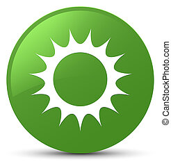 Sun icon soft green round button