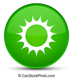 Sun icon special green round button