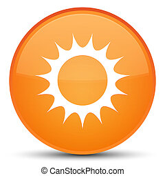 Sun icon special orange round button