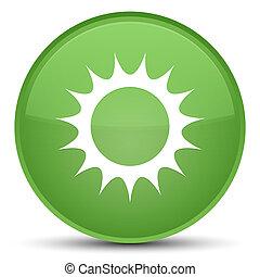 Sun icon special soft green round button