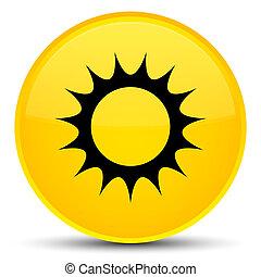 Sun icon special yellow round button