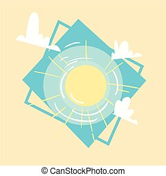 Sun Icon Summer Sea Vacation Concept Summertime Holiday