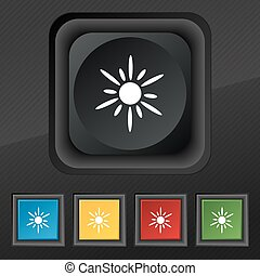 Sun icon symbol. Set of five colorful, stylish buttons on black texture for your design. Vector