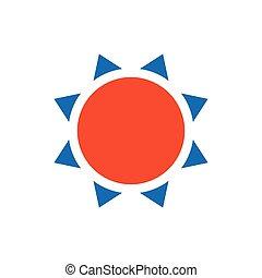 Sun icon vector blue and orange