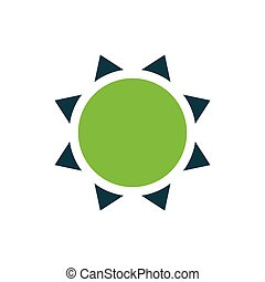 Sun icon vector green
