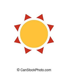 Sun icon vector yellow and red color