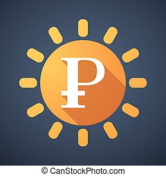 Sun icon with a currency sign