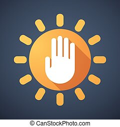 Sun icon with a hand