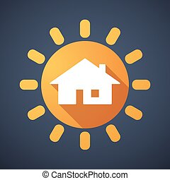 Sun icon with a house