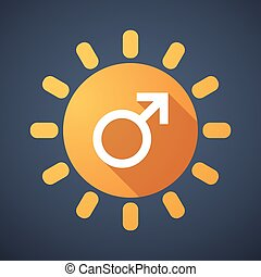 Sun icon with a male sign
