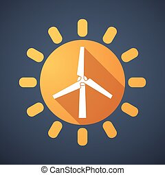 Sun icon with a wind generator