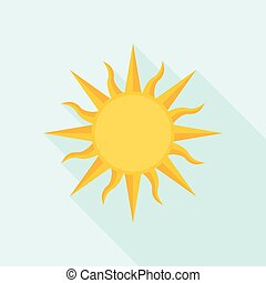 Sun icon with long shadow, flat design vector