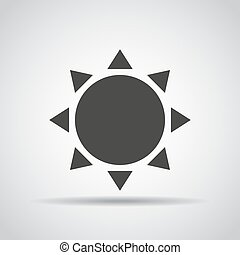 Sun icon with shadow on a gray background. Vector illustration