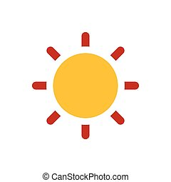 Sun icon yellow and red color