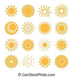 Sun icons set for computing web and app.