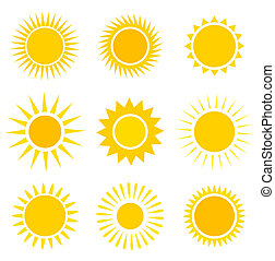 Sun icons set - Sun icons collection. Vector illustration