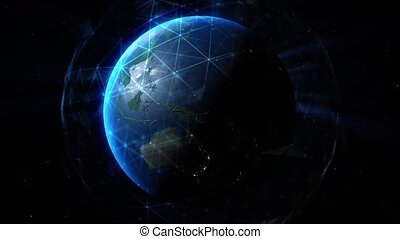 Sun illuminate the earth in outer space. Special Effects Elements in video Global world network and telecommunication on earth. Elements of this image furnished by NASA
