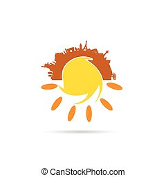 sun illustration with famous monument