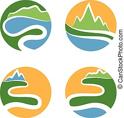 sun., ilustracja, fale, komplet, ikona, wektor, góry