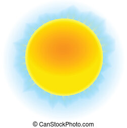 Sun image - The sun shining in the blue sky in impressionism...