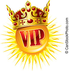 Sun in a golden crown. VIP symbol.