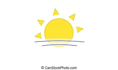 Sun in blue sky line art vector animation. Sunshine and cloud, weather forecast, meteorology simple contour icon video. Hot summer sunny day overcast, sunrise motion graphics