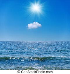 sun in blue sky over cloud and sea
