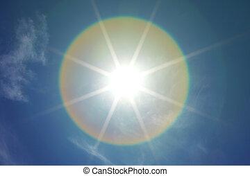 sun in blue sky