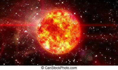 Sun in dark space - solar sun in the space night background