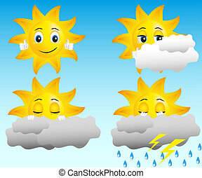 sun in different weather conditions: sunny, cloudy, rain, thunder and lightning