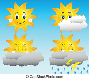 sun in different weather conditions