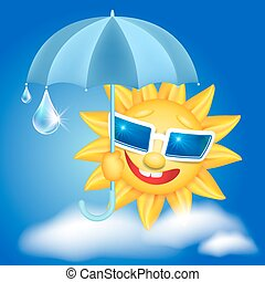 Sun in glasses with umbrella and raindrops