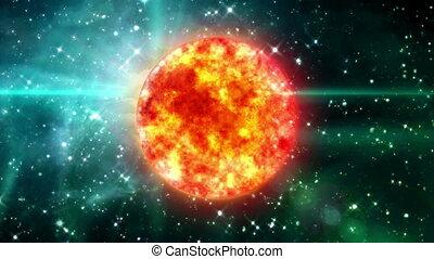 Sun in purple space - solar sun in the space night...