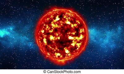 Sun in space in nebula, loop
