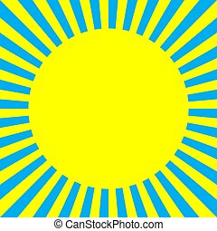 Sun in the radiating rays. Pop art style. Abstract bright ...