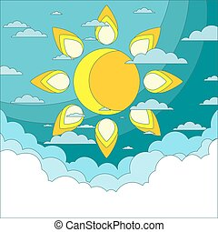 Sun in the sky. Good weather background. Vector