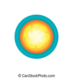 Sun in the sky icon, cartoon style