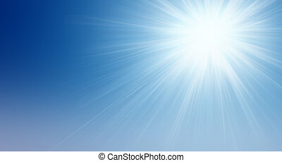 Natural background. Bright sun shining in the clear blue sky. The idea of purity, the beginning, the origins and prosperity and eternity