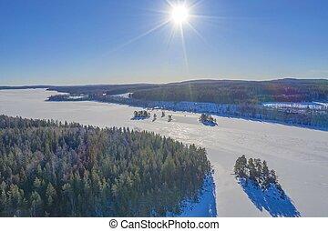 Sun in winter drone photo