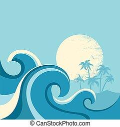 sun., kék, ábra, tenger, lenget, vektor, kilátás a tengerre, poszter, természet