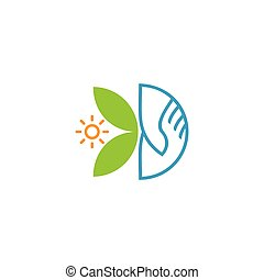 sun leaf hand care shake natural symbol logo vector