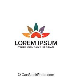 sun leaf logo design concept template