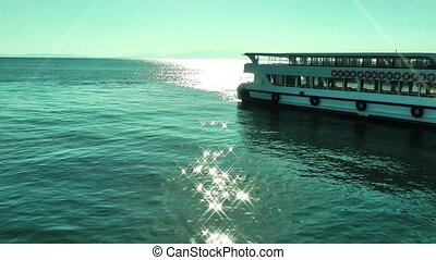 Sun light and ferryboat