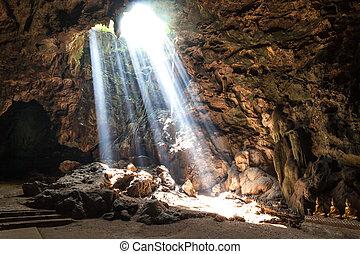 Sun Light in the cave at Khaoluang, Phetchaburi Province, ...