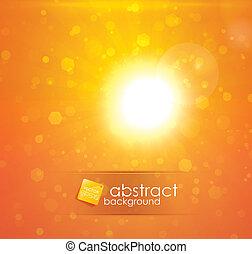 Sun light - Orange sun light abstract vector background with...