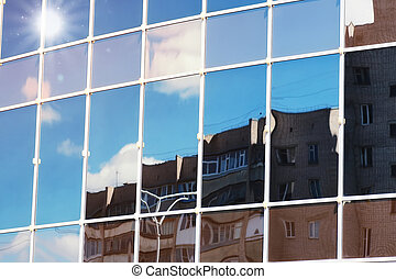 sun light sky cloud reflection in glass office building
