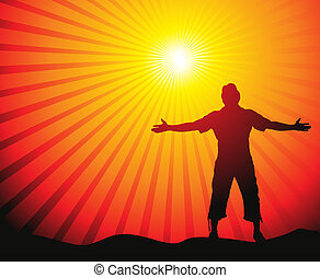 sun lite background - Man with his arms wide open in sun...