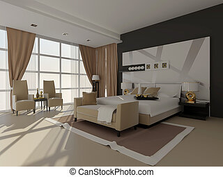 room - sun living room, white - black gamma bedroom