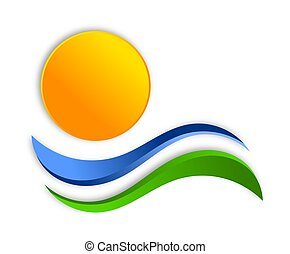 Colorful graphic illustration. Abstract interpretation of sun, earth and ocean