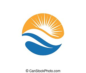 sun logo icon vector template sun over horizon